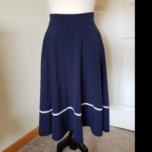 Modcloth nautical navy and white swing skirt